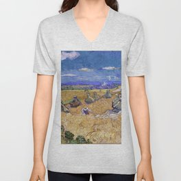 """Vincent van Gogh """"Wheat Stacks with Reaper"""" Unisex V-Neck"""