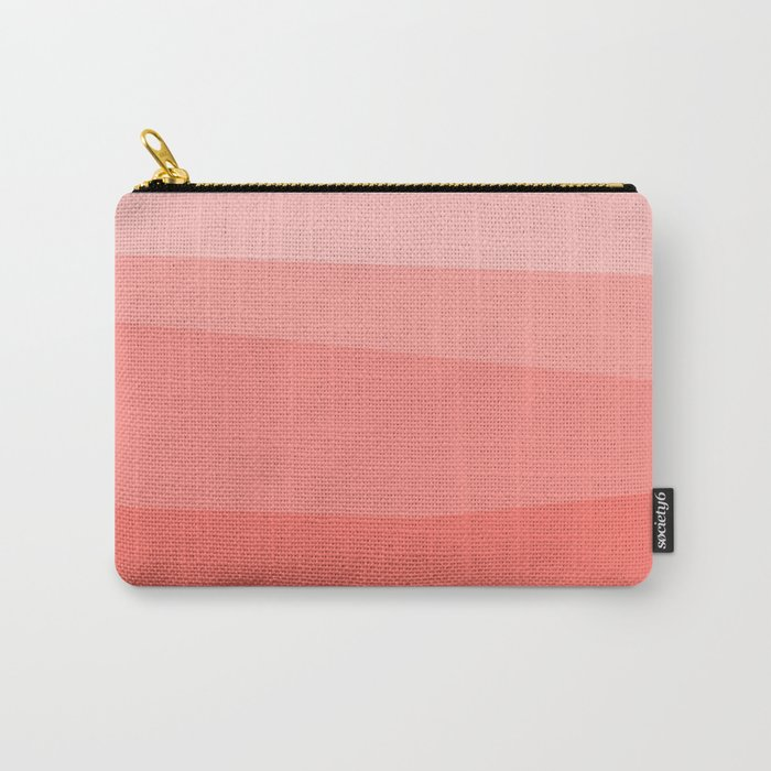 Diagonal Living Coral Gradient Carry-All Pouch