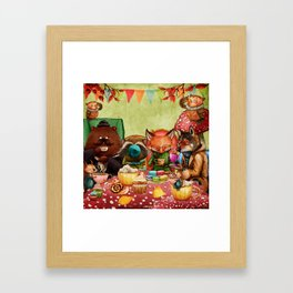 Woodland Friends at Teatime in Forest Framed Art Print