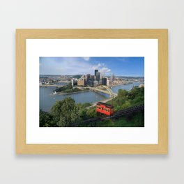 Duquesne Incline Overlooking Pittsburgh, PA Framed Art Print