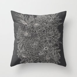 All The Dahlias - Drawing Throw Pillow