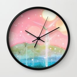 wind turbine in the desert with snow and bokeh light background Wall Clock