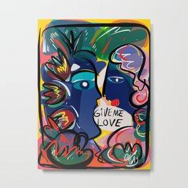 Give Me Love Graffiti Art Neo Expressionism Portrait  Metal Print