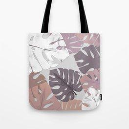 Rose Marble Monstera Tote Bag