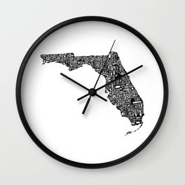 Typographic Florida Wall Clock