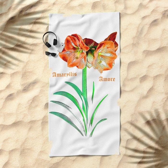 Amaryllis Amore Beach Towel