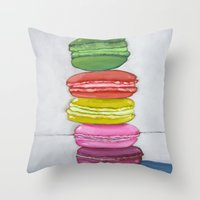 macaron Throw Pillows featuring macaron stack. by nicole newsted