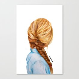 Blonde Fishtail Braid Girl Drawing  Canvas Print