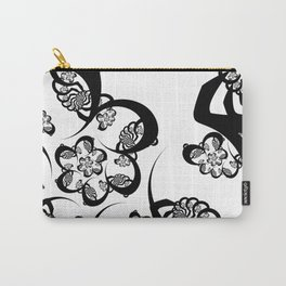 Black and White Fractal Spiral Carry-All Pouch
