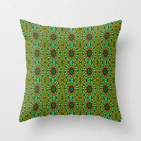 green pattern Throw Pillows featuring Green Pattern by Art-Motiva