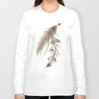 bohemian Long Sleeve T-shirts featuring Bohemian Feather by LouJah