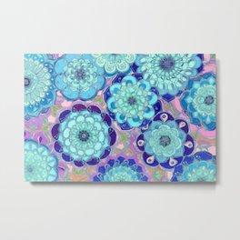 Radiant Cyan & Purple Stained Glass Floral Mandalas Metal Print