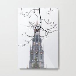 Iconic St. Bavo Church tower of Haarlem in winter II | Haarlem historical city, the Netherlands | Urban travel photography Metal Print