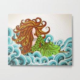 Mermaid Waves Metal Print