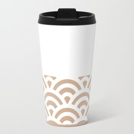 Rainbow Trim Light Brown Cinnamon Travel Mug