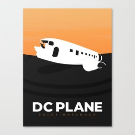 Retro Iceland Travel Poster - DC Plane Canvas Print