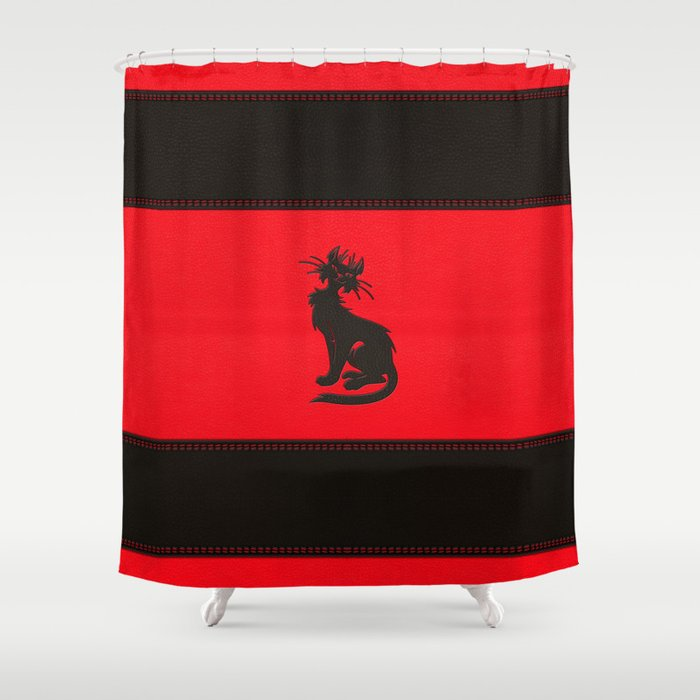 Tribal Black Cat Embossed On Faux Leather Shower Curtain