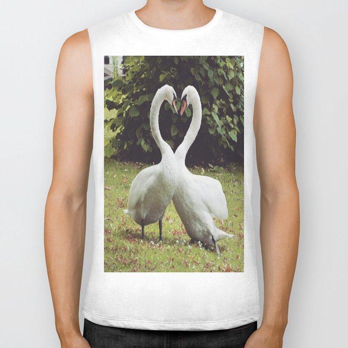 swan love Biker Tank