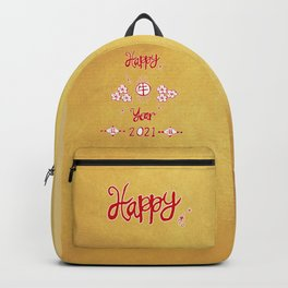 Hand Drawing Happy New(牛) Year  Backpack
