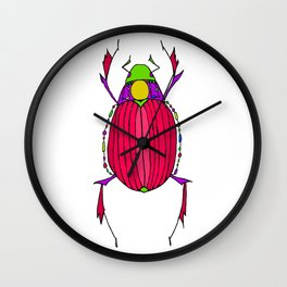 Egyptian Scarab Beetle Pink Wall Clock