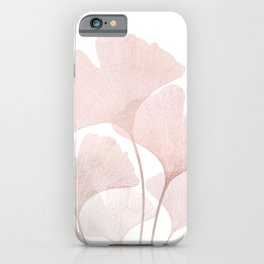 Blush Pink Modern Minimalist Ginkgo Leaves nr 1 iPhone Case