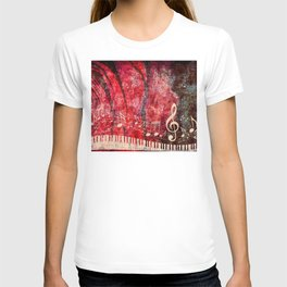 Piano Keyboard with red rose and musical notes T-shirt