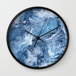 Acrylic pour painting - Ocean Wall Clock
