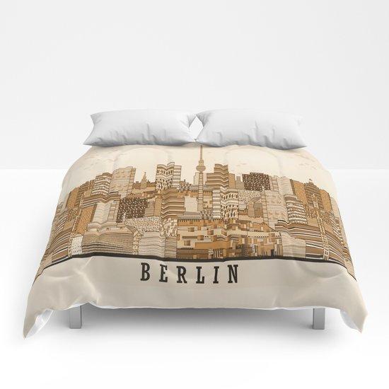 berlin skyline vintage  Comforters