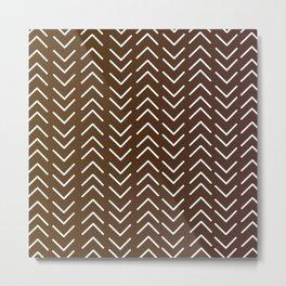 Mudcloth A Chocolate Brown Metal Print