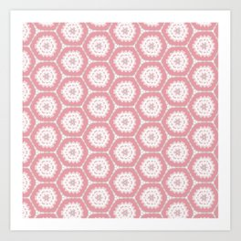 Pink white Hexagon Pattern Art Print