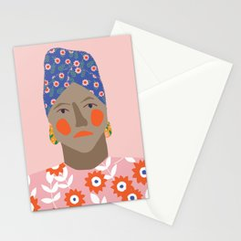 Girl with patterned african headscarf Stationery Cards