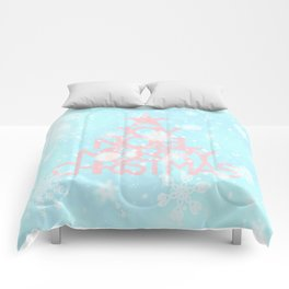 Joy, Noel, Merry Christmas and Star pattern - pink on aqua Comforters
