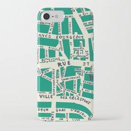 PARIS MAP GREEN iPhone Case