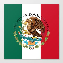 Mexican flag augmented scale with Coat of Arms Canvas Print