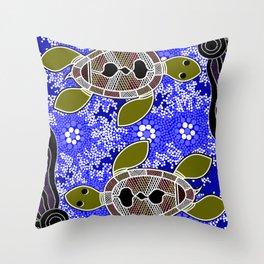 Authentic Aboriginal Art - Sea Turtles Throw Pillow