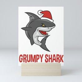 grumpy shark, Shark lovers, shark gifts, christmas, christmas gifts, xmas, xmas gifts Mini Art Print