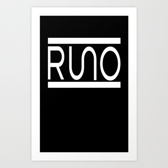 Rue Nothing RUNO Logo White Art Print