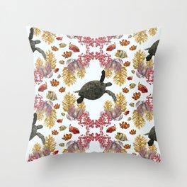 Coral Diamonds Throw Pillow