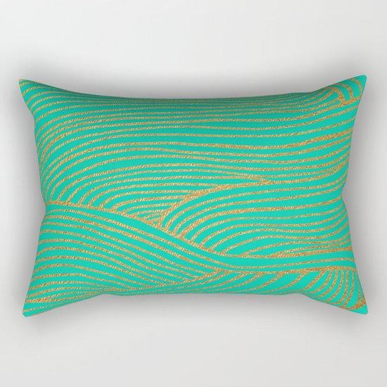Wind Gold Turquoise Rectangular Pillow