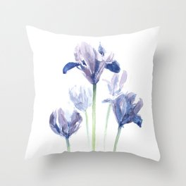Watercolor iris print Throw Pillow