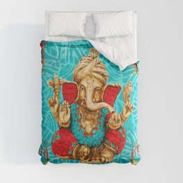Lord Ganesha  - Mixed Media Comforters
