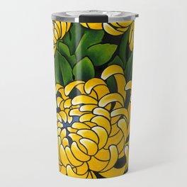 Japanese tattoo style sumi ink wash and watercolor chrysanthemum   Travel Mug