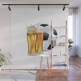 Two Glasses of beer and soccer ball Wall Mural