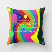 teacher Throw Pillows featuring art teacher by Maria Julia Bastias