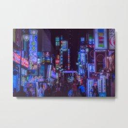 Tokyo night: a bright alley / cyberpunk/blade runner blue neon light Metal Print