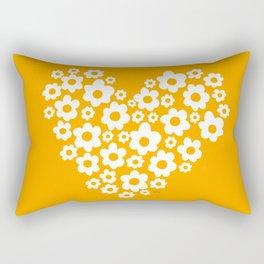 Floral Heart - Orange Rectangular Pillow