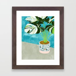 Variegated Monstera #tropical #painting #nature Framed Art Print