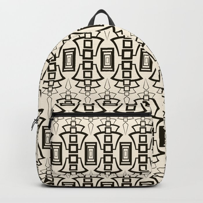 Black and beige Art Deco 2 . Backpack