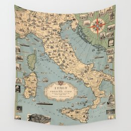 1935 Vintage Map of Italy and Vatican City Wall Tapestry