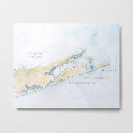 Hamptons Watercolor Map Metal Print